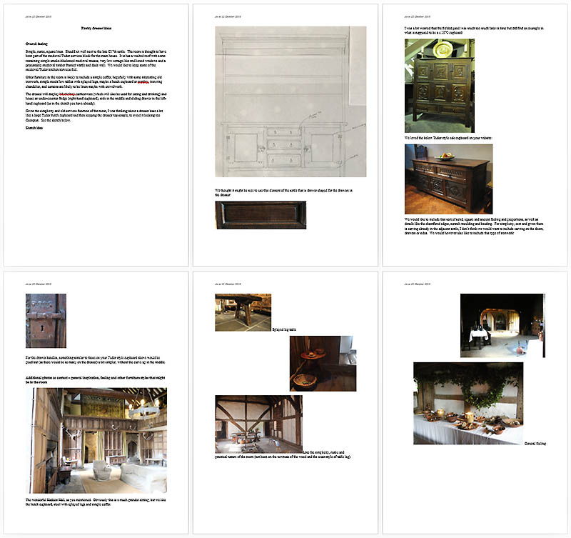 Additional client notes and inspiration for Nick at Early Oak Reproductions