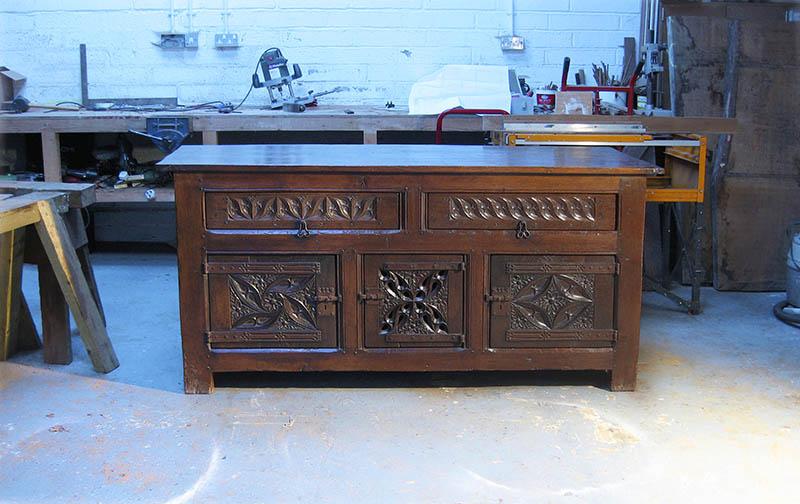 Early 16th century style oak cupboard handmade by Nicholas Berry