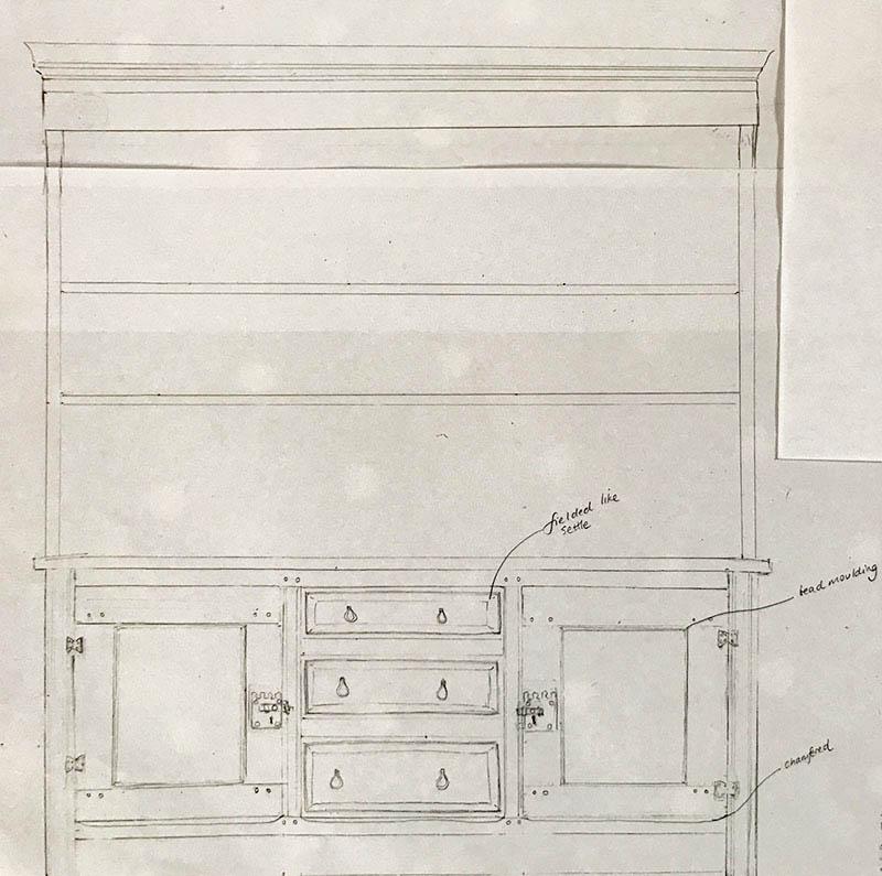 Oak dresser concept sketch full size render