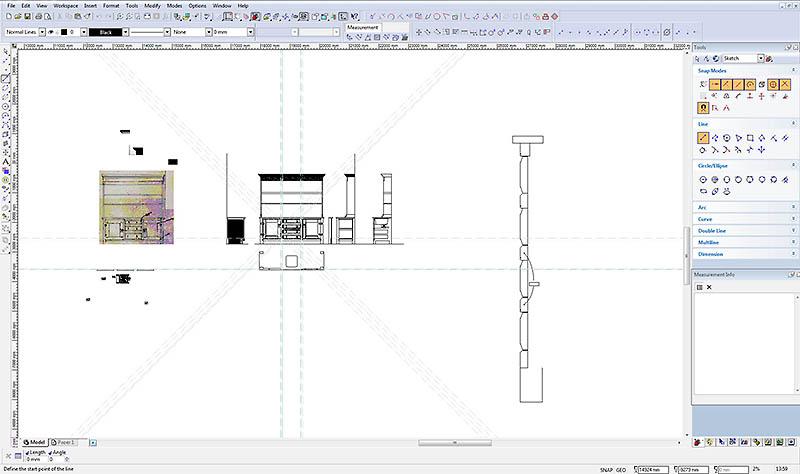 CAD drawing oak dresser centre mullion mouldings