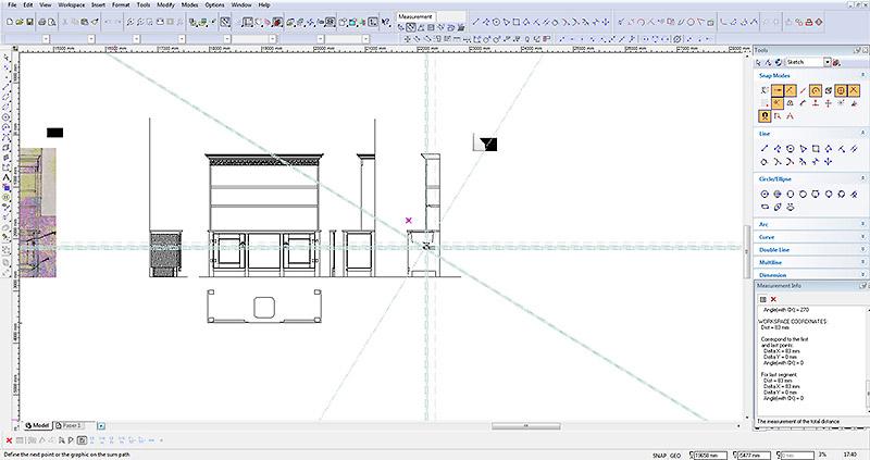 CAD drawing oak dresser with sink plumbing