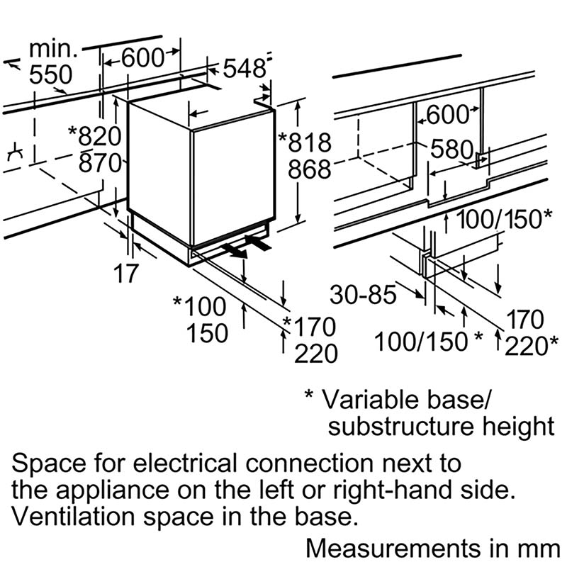 Neff integrated fridge installation details and dimensions