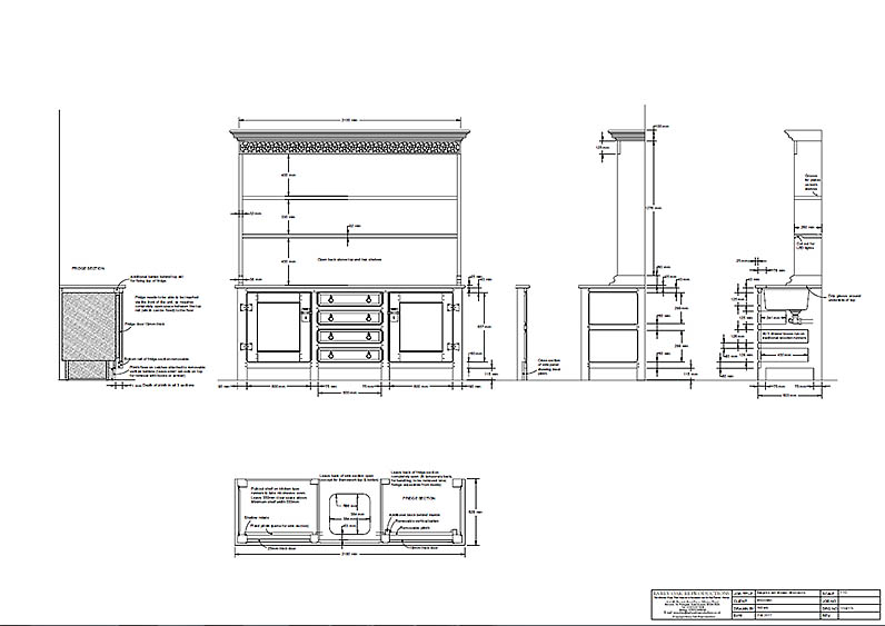 Bespoke oak kitchen dresser working CAD drawings