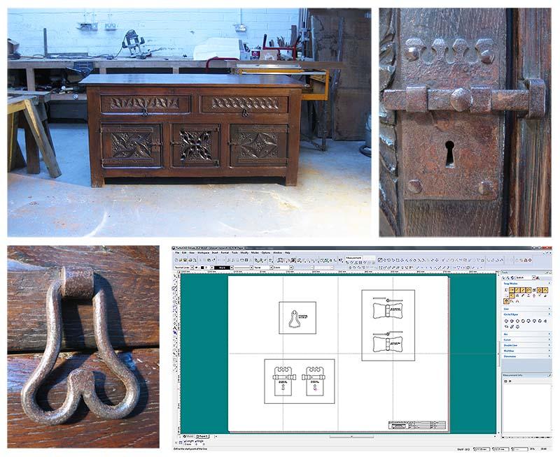 Ironwork details for special oak kitchen dresser