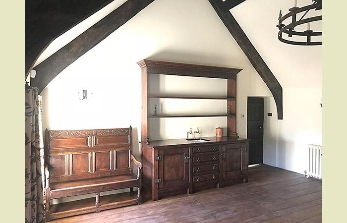 Oak kitchen high dresser in Somerset Grade I listed manor house