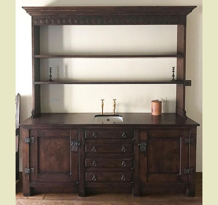 Oak kitchen dresser with rack