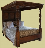 C17th Style Carved Oak Tester Bed King