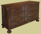 Wide 4-drawer oak Jacobean style bedside cabinet