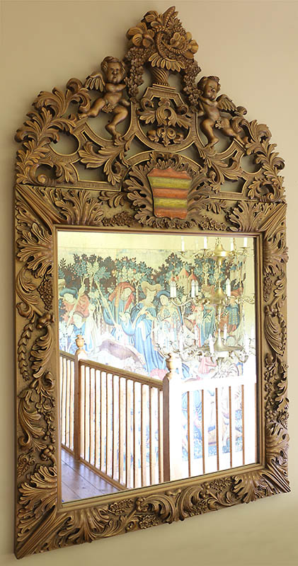 Hand carved antique style mirror