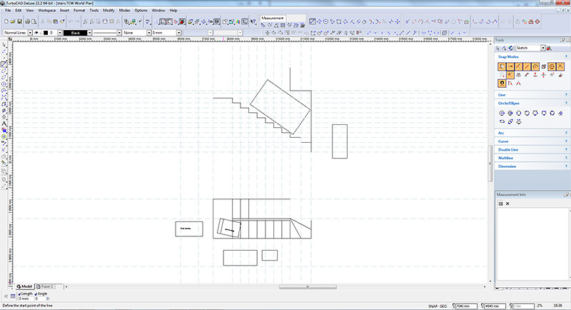 CAD drawing of cottage stairs for oak wardrobe access