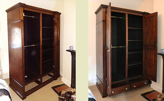 Period style oak wardrobe ceiling doors and drawers