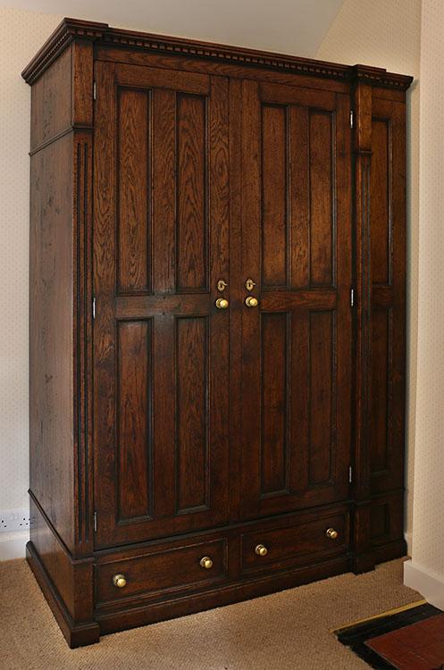 Period style bespoke oak wardrobe