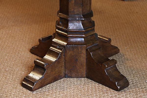 Hand cut Medieval style oak trestle table base moulding