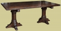 Medieval style bespoke made carved oak trestle table