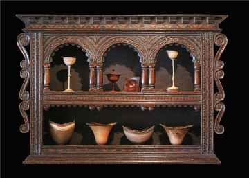 17th century style oak glass case, designed and made by Nicholas Berry