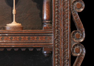Detail showing parquetry inlay of bog oak, holly and cherry